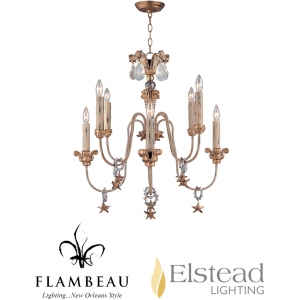 Elstead 'Mignon' 8 Light Chandelier, Aged Gold Leaf Finish - FB/MIGNON8